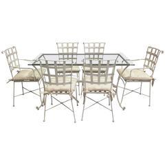 Iron Garden Furniture Set Rectangular Table and Six Chairs