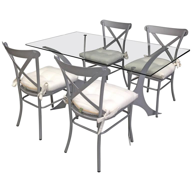 Metal and Glass Dining Set.Garden furniture