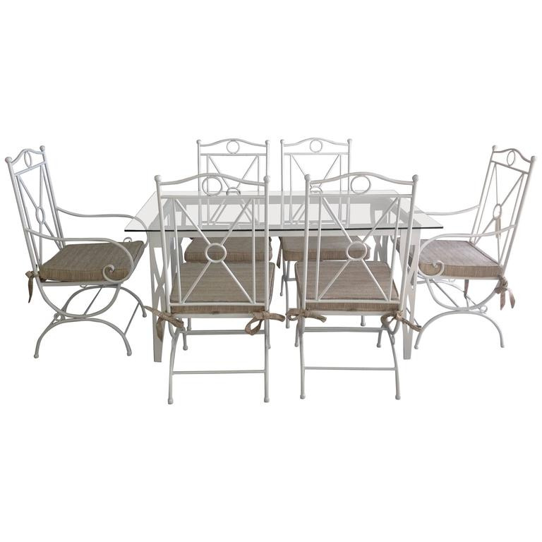 Handmade White Wrought Iron Patio Dining Set Garden furniture For Sale at 1st