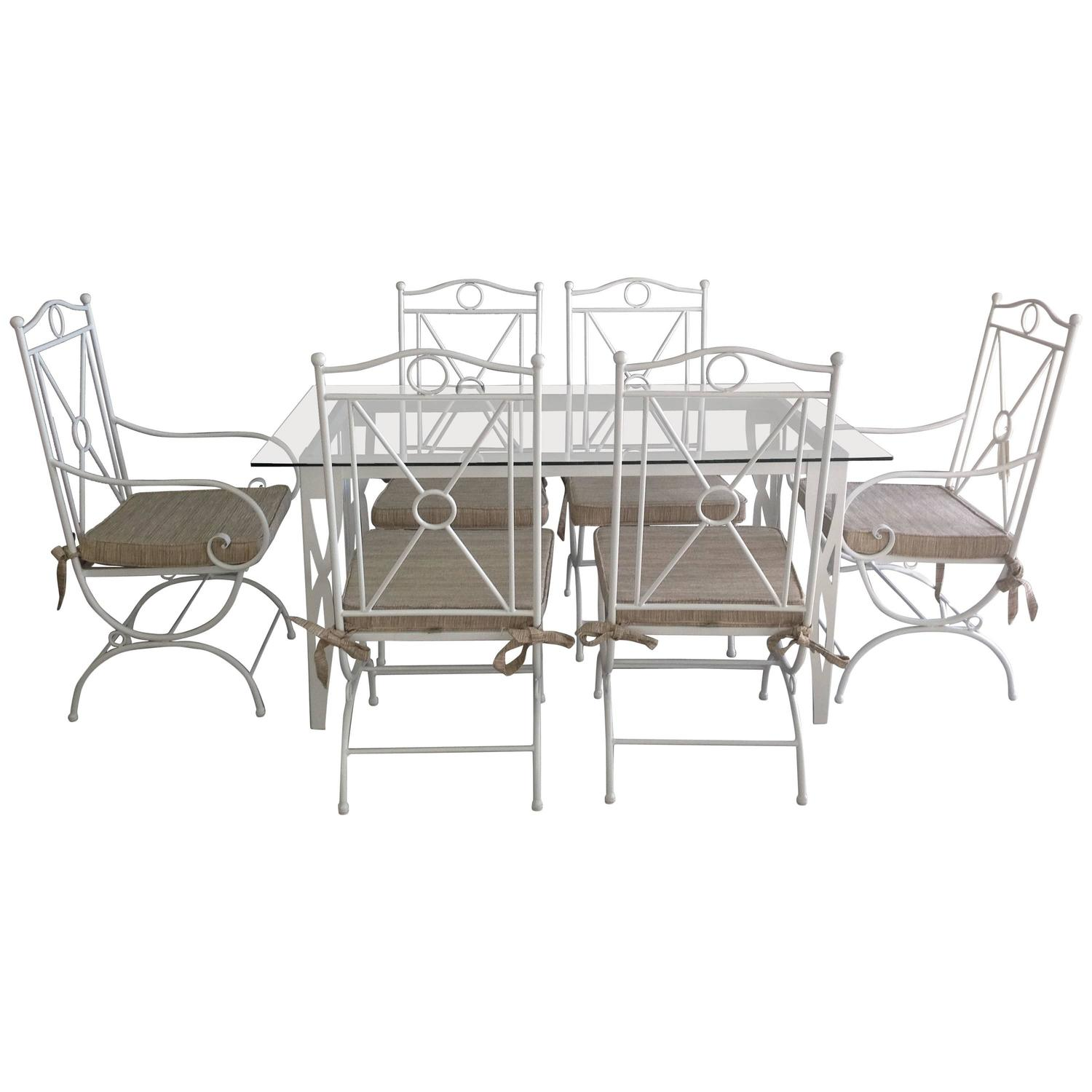 Handmade white wrought iron patio dining set garden for Outdoor tables and chairs for sale