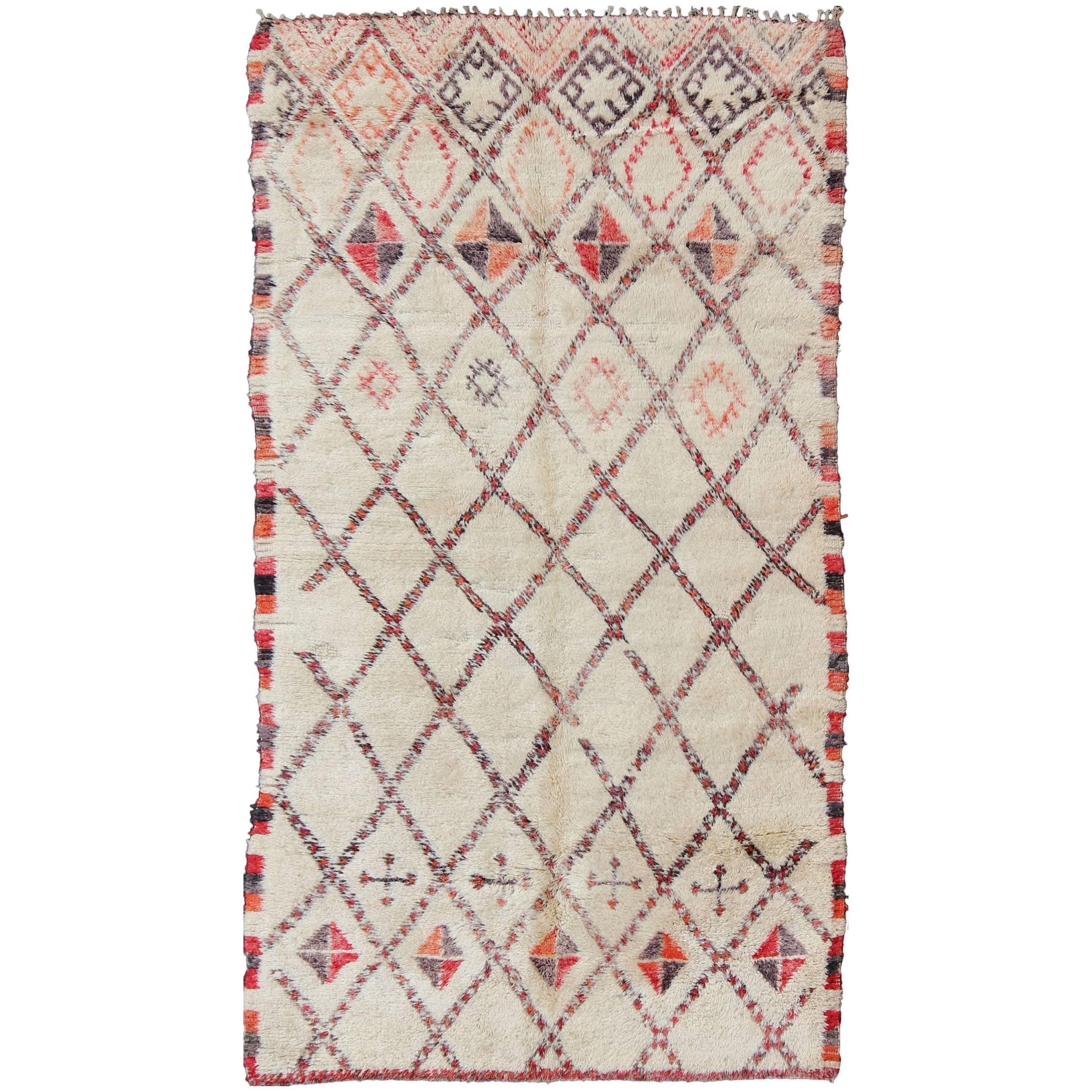 Vintage Moroccan Beni Ouarain Rug