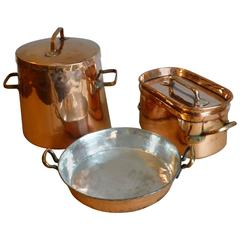 Antique, Re-Tinned Stock Pot and Stewing Pots