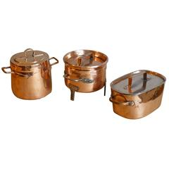 Decorative, Polished Set of Two Stock Pots and Stewing Pot