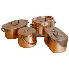 Magnificent French Set of Re-Tinned Copper Pans, Copper Pots