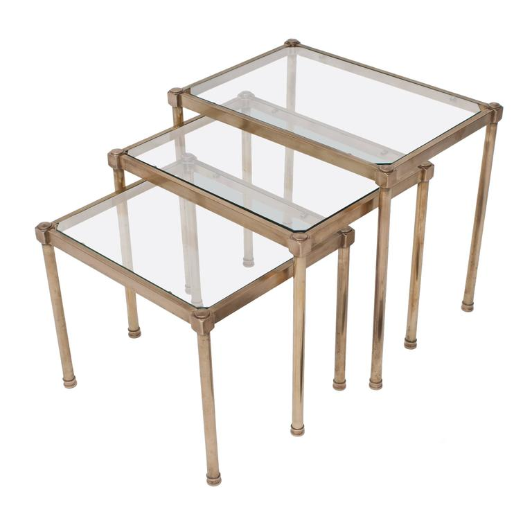 Set of Three Mid-Century Brass and Glass Nesting Tables, France, circa 1950