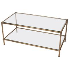 Faux Bamboo Brass and Glass Coffee Table, France, circa 1965