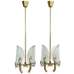 Pair of Pietro Chiesa for Fontana Arte Pendants, Italy