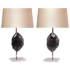 Pair of Modern Dark Rock Crystal Lamps