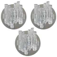 Set of Three Italian Murano Clear Geometric Glass Sconces by Salviati
