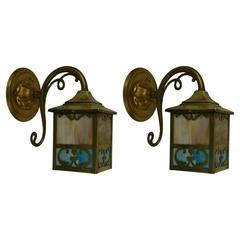 Pair of Slag Glass Lantern Wall Lights