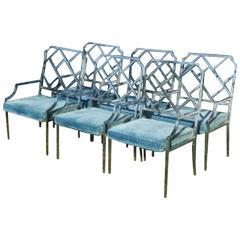 Milo Baughman Set of 6 or 8 Design Institute America Chrome Arm Dining Chairs