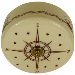 Nautical Wheel Glass Semi Flush Mount