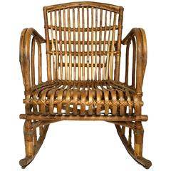 1960s Franco Albini Style Rattan Rocking Chair