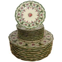 "1930's Bavaria ""Alice"" Porcelain Floral Plates, S/17"