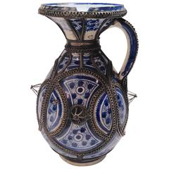 Vintage Morocco Ceramic Handled Pitcher with Silver Overlay