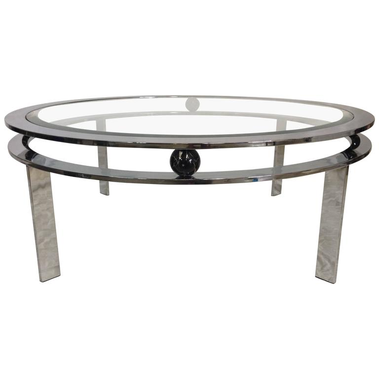 Deco Chrome Coffee Table: 1970s Art Deco Style DIA Chrome Glass Top Coffee Table For