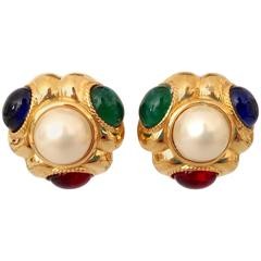 1980s Ciner Gold Plated Faux Pearl and Cabachon Set Glass Jem Stone Earrings