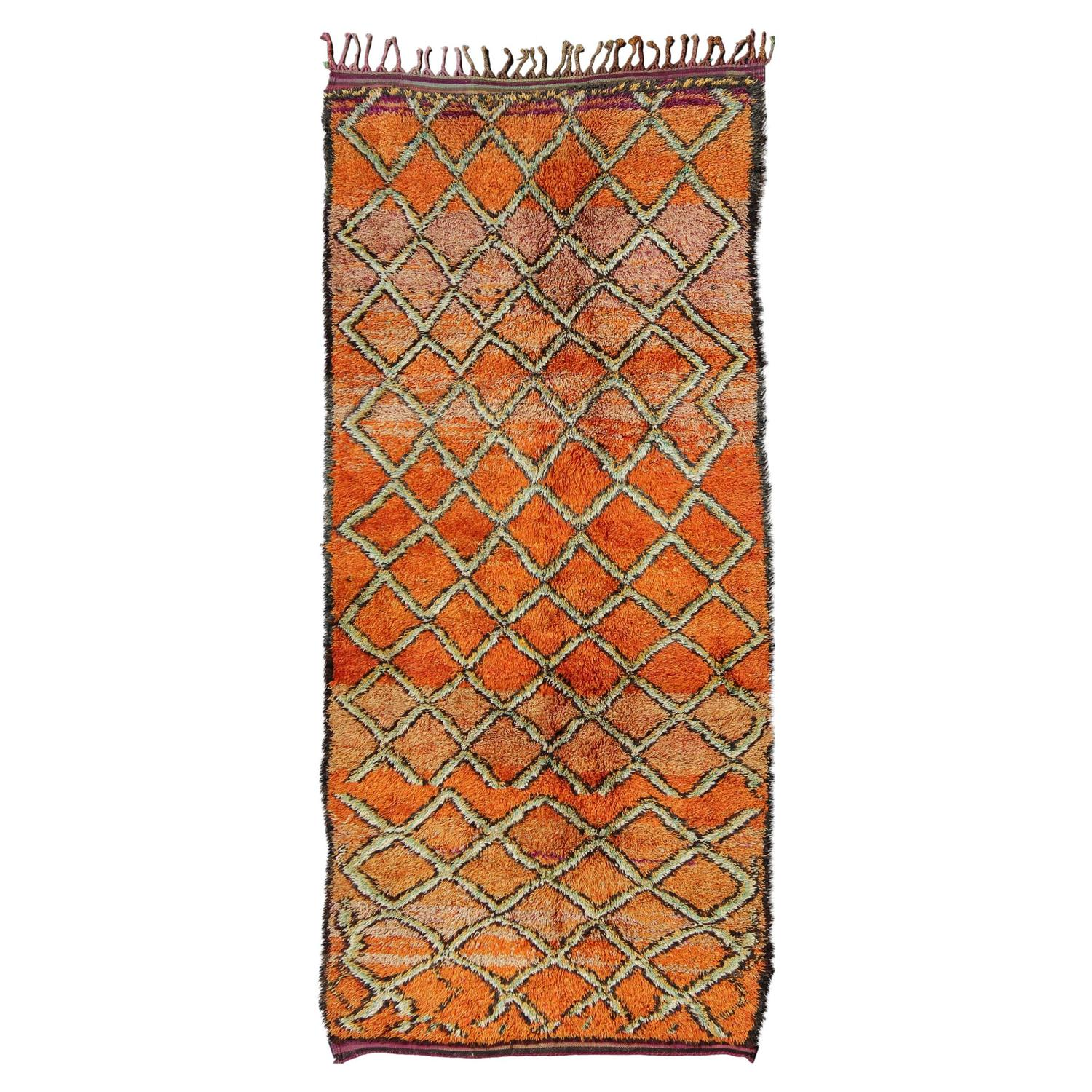 Vintage Moroccan Long Rug Or Gallery Runner For Sale At