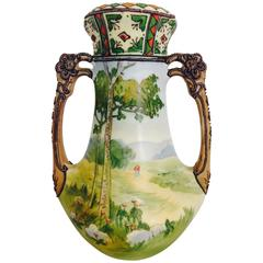 Japanese Morimura Moriage Two Handle Vase