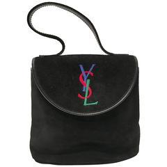 YSL Black Suede Embroidered Logo Handbag