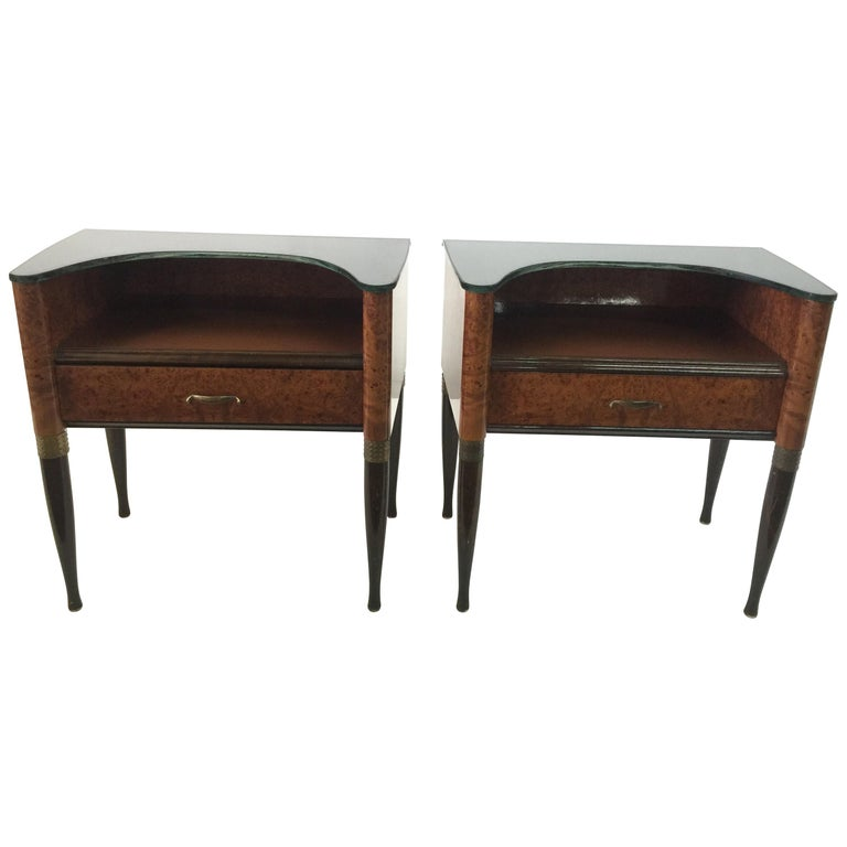 Pair of Exquisite and Rare Italian Nightstands or Sidetables For Sale