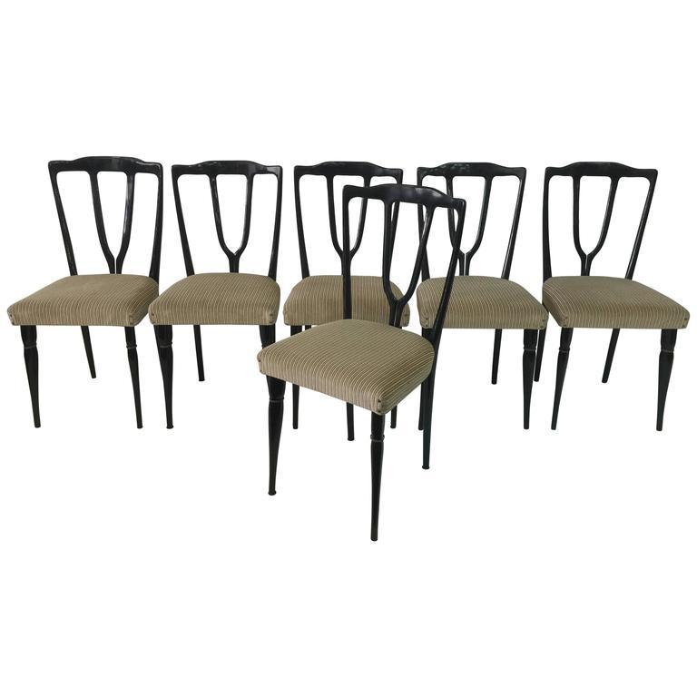 Six Vintage Italian Wish-Bone Dining Chairs