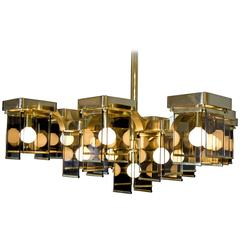 Sciolari Cubic Brass and Smoked Glass Chandelier
