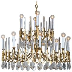 Sciolari Two-Tier Brass and Crystal Vintage Italian Chandelier, circa 1970