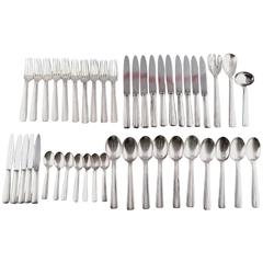Large Complete Ten-P Ercuis Art Deco Cutlery in Silver Plate, France, circa 1940