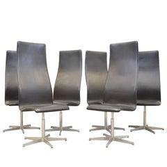 MidcenturyBlack Leather Oxford Chairs by Arne Jacobsen for Fritz Hansen, Denmark