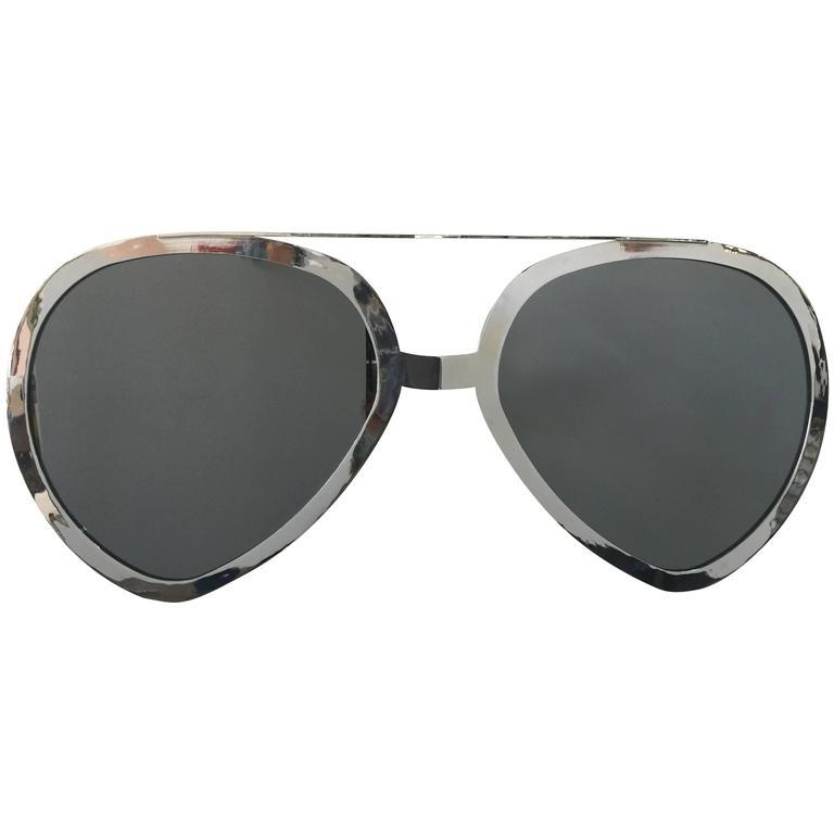 Huge Pair of Aviator Glasses Wall Mirror in Chromed Frame 1