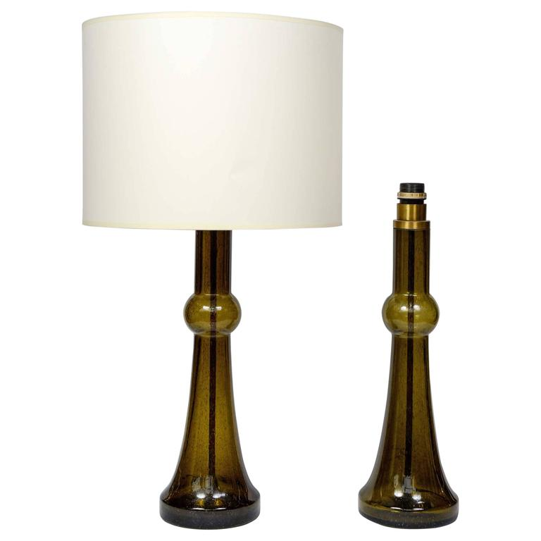 dark green pair of murano glass lamps for sale at 1stdibs. Black Bedroom Furniture Sets. Home Design Ideas