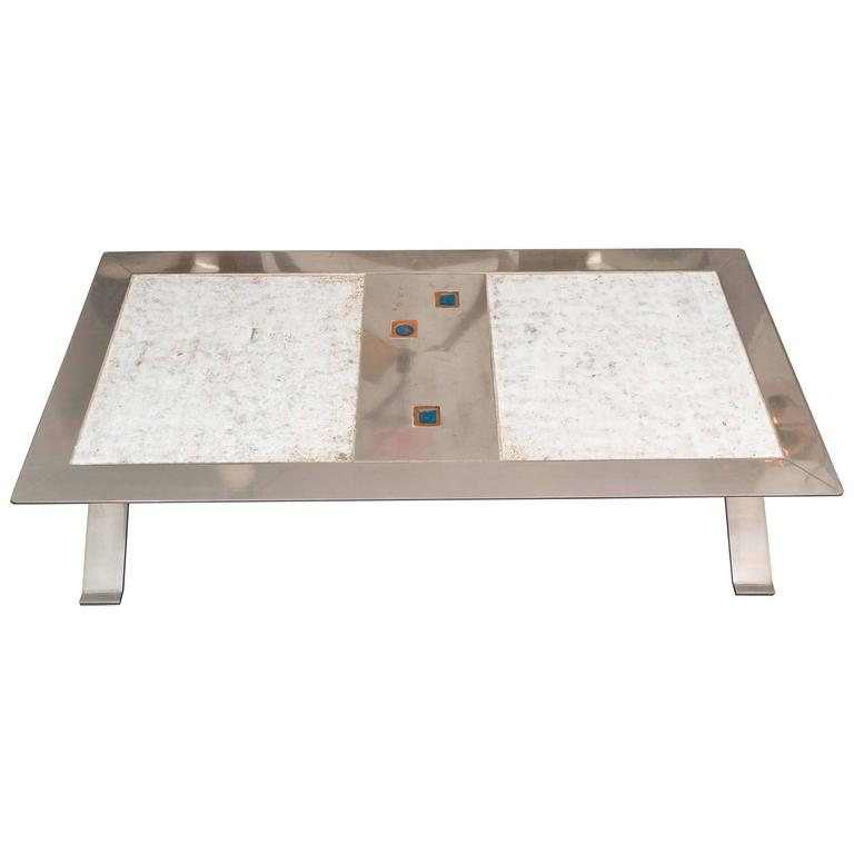 Stainless Steel and Ceramic Table For Sale