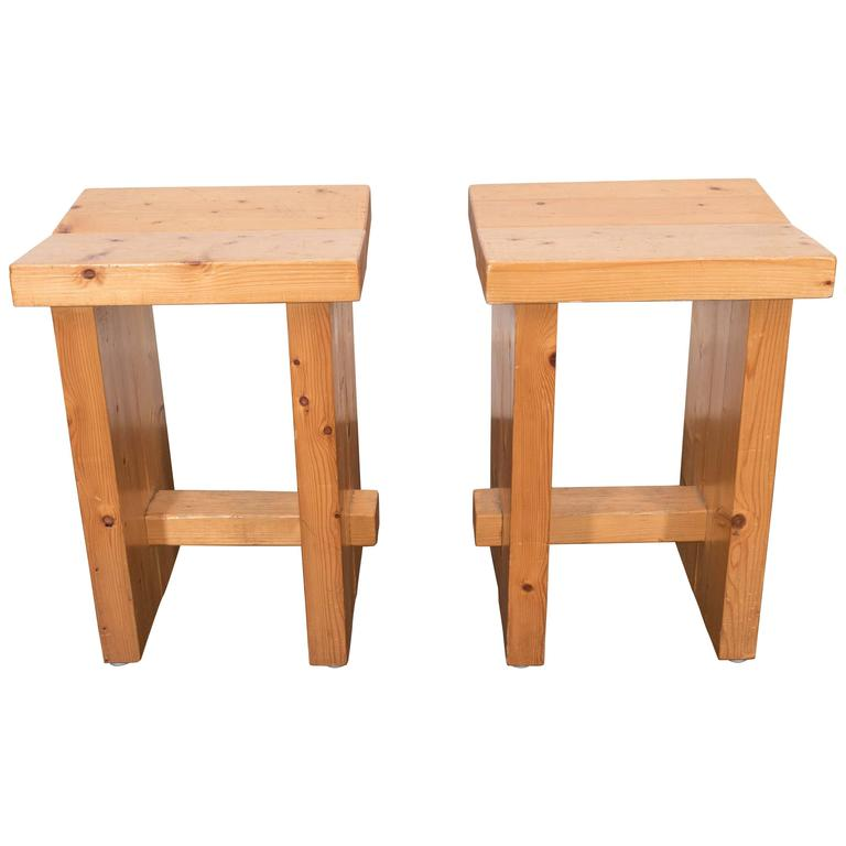 Pair of French Pine Stools For Sale