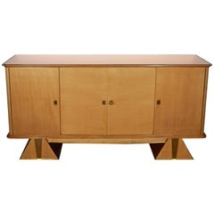 French Modernist Sycamore Cabinet with Pyramid Base