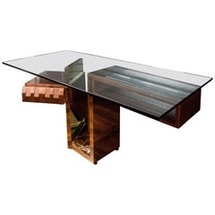 Modern Wood and Glass Desk at cost price.