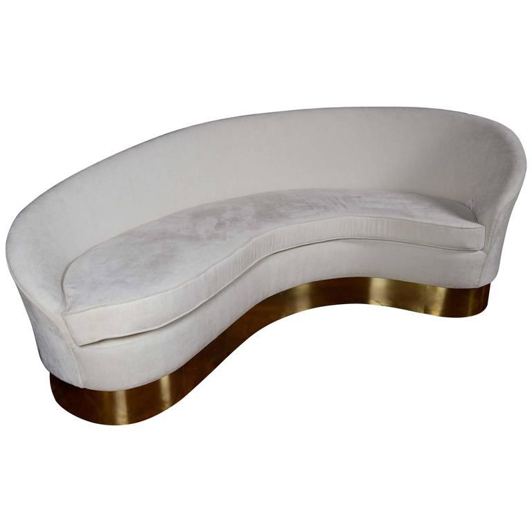 Brass and Fabric Curved Sofa For Sale