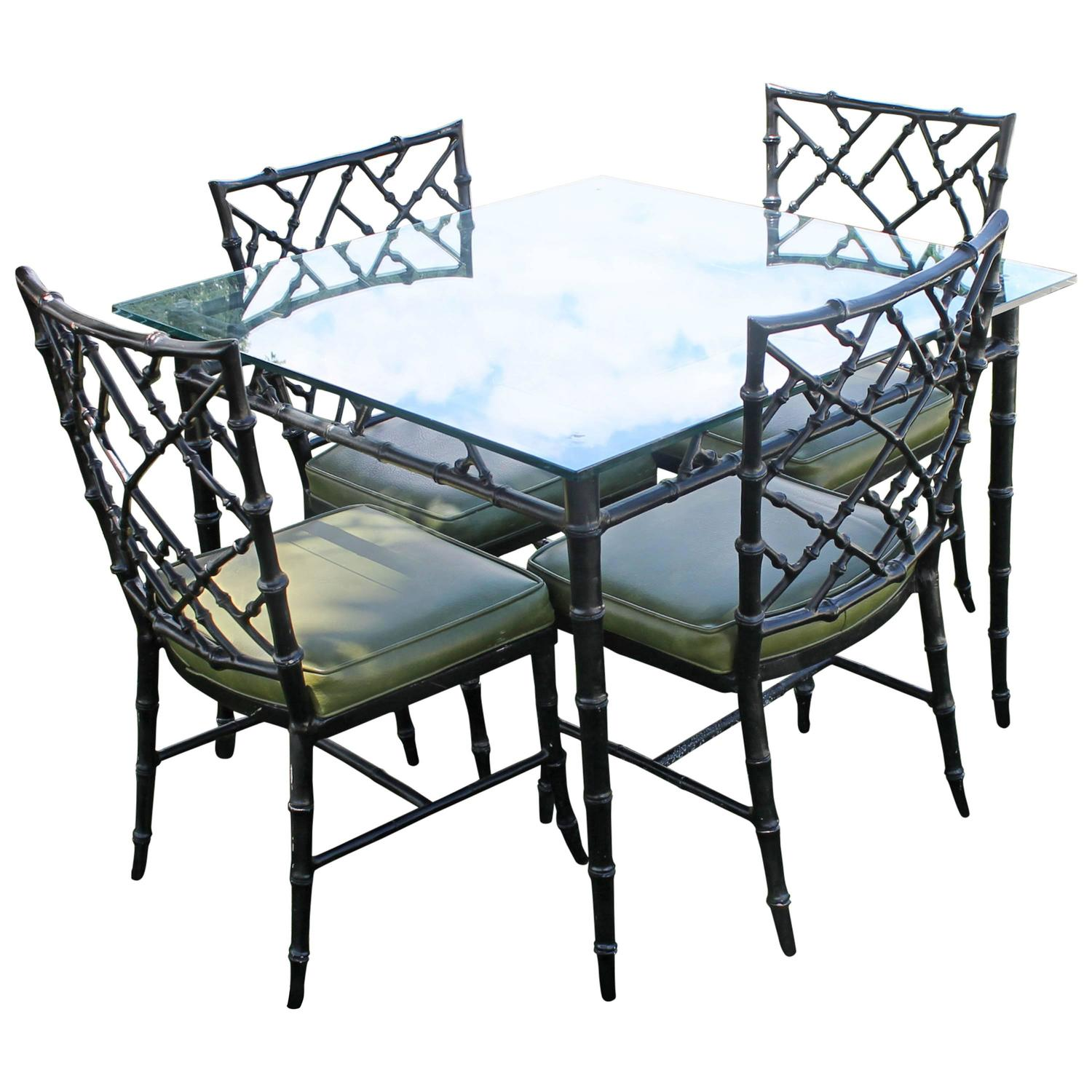 Phyllis Morris Patio Set Dining Chairs and Table Faux Bamboo