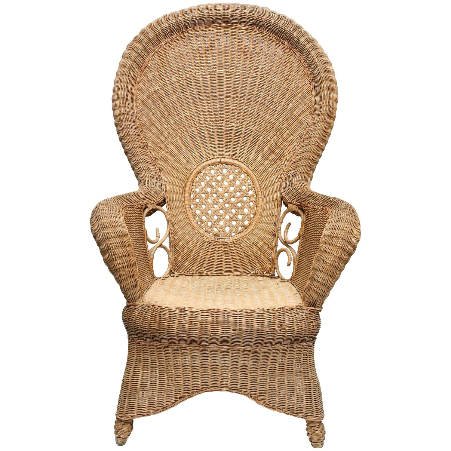 Large french proven al vintage rattan armchair for sale at for Oversized armchairs for sale