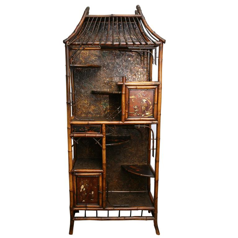 Rare 19th Century English Bamboo Pagoda Etagere with Ivory Accent 1