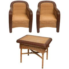 Pair of French Vintage Provence Rattan Armchairs with Table