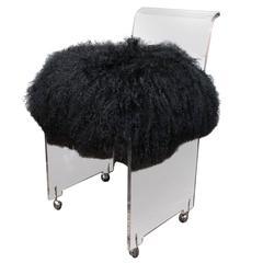 Custom Acrylic Black Mongolian Side Chair