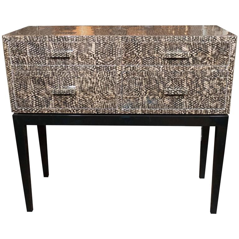 Golden Fish Skin Veneer Console Table
