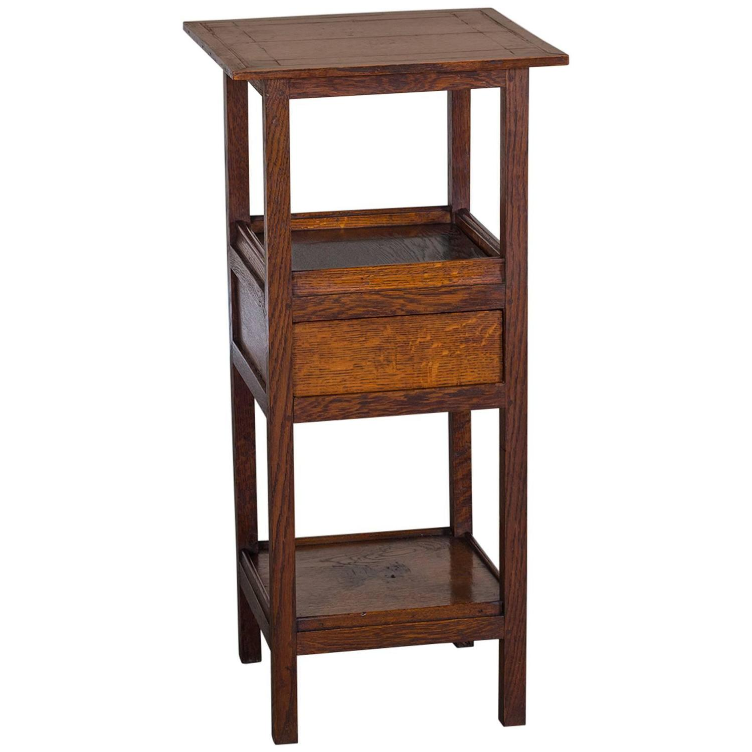 Arts and crafts tables - Antique English Arts And Crafts Three Tier Oak Table Hidden Drawer Circa 1885 At 1stdibs