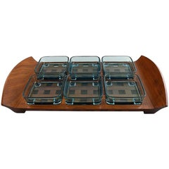 Jens Harald Quistgaard, Tray in Teak with Six Containers in Colored Glass