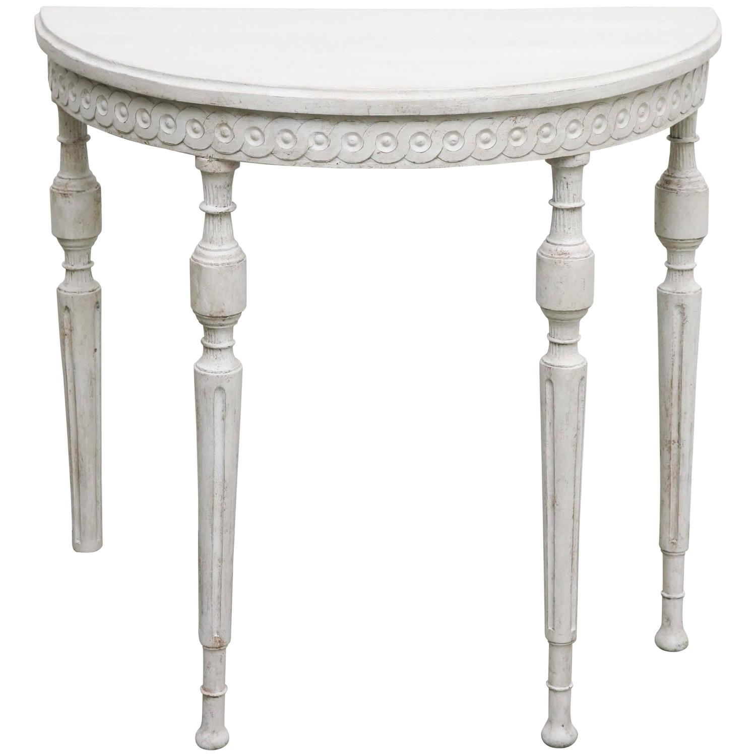 Antique swedish gustavian small painted demilune console table 19th century at 1stdibs White demilune console table