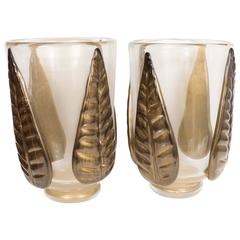 Leaf Motif Murano Glass Vases by Pino Signoretto