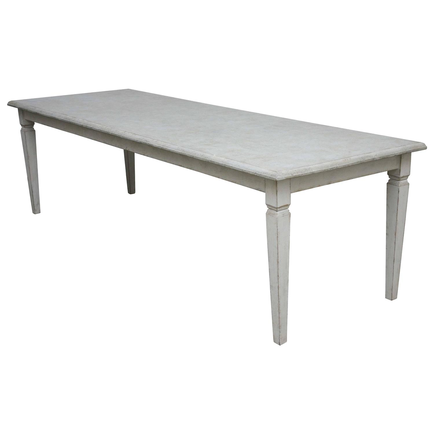Long Dining Tables For Sale: Antique Long Swedish Painted Dining Farm Table Late 19th