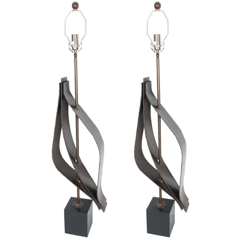 Pair of Patinated Steel Table Lamps