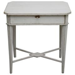 Antique Swedish Gustavian Pained Work Table, 19th Century